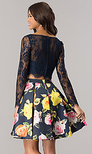 Image of two-piece short homecoming dress with long sleeves. Style: DJ-A5955 Back Image