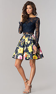 Image of two-piece short homecoming dress with long sleeves. Style: DJ-A5955 Detail Image 2