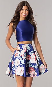 Short Print Two-Piece Homecoming Dress