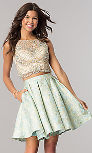Aqua Blue Two-Piece Homecoming Dress