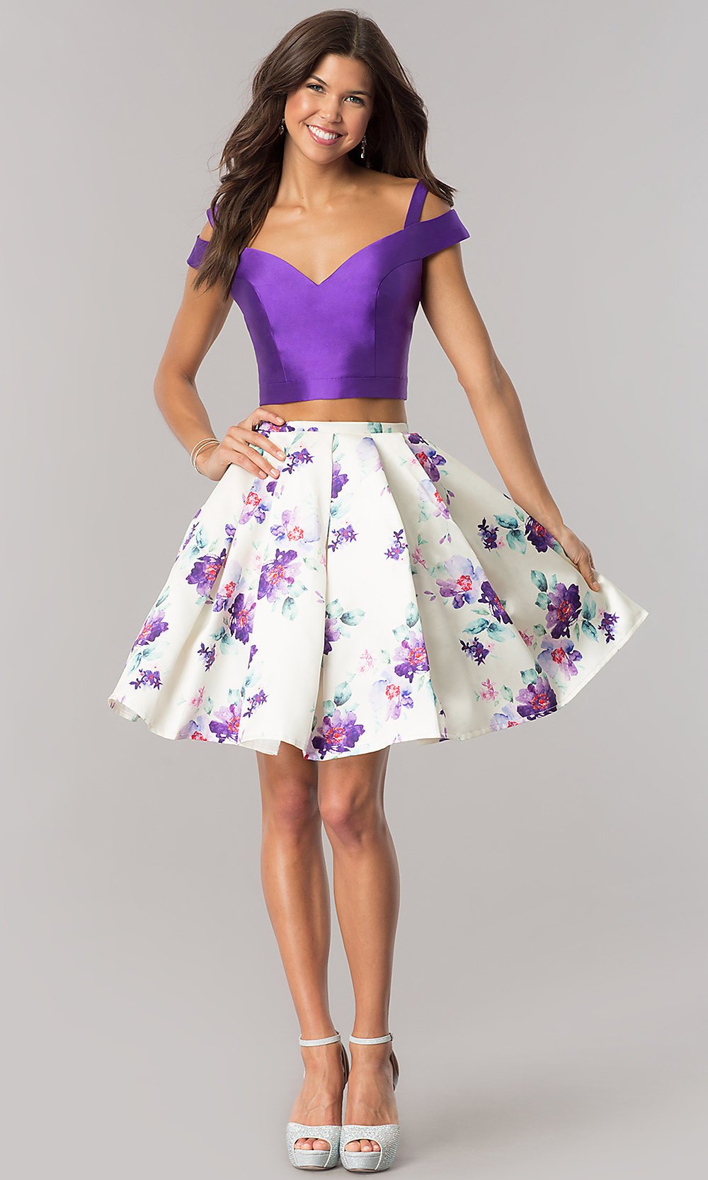 Short Satin Two-Piece Print-Skirt Party Dress-PromGirl