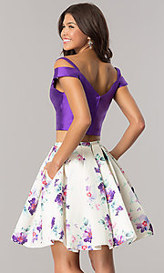 Image of purple short two-piece print-skirt homecoming dress. Style: DJ-A6111 Back Image