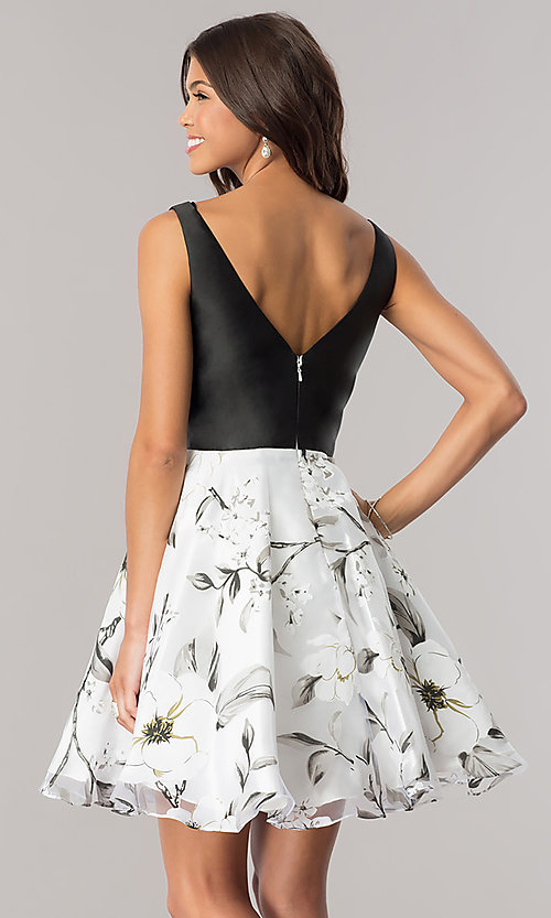 Image of Dave & Johnny homecoming dress with print skirt. Style: DJ-A6116 Back Image