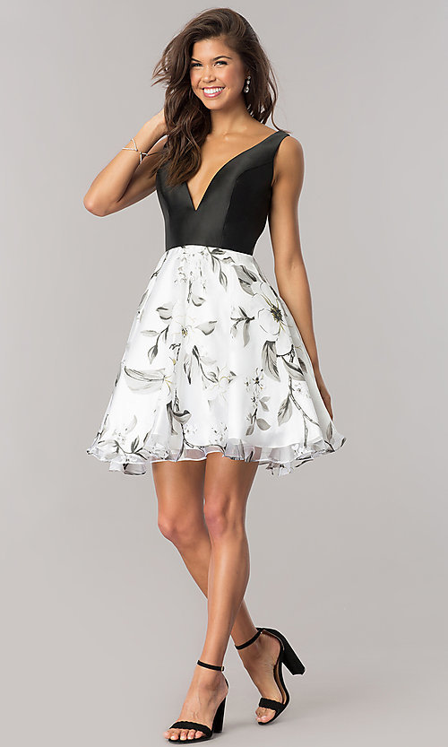 Image of Dave & Johnny homecoming dress with print skirt. Style: DJ-A6116 Detail Image 1