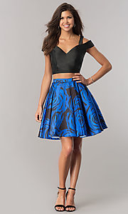 Image of two-piece junior-size homecoming dress with pockets. Style: DJ-A6110 Detail Image 1