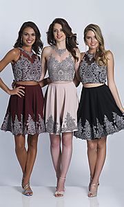 Image of lace-applique two-piece Dave & Johnny short prom dress. Style: DJ-A5476 Front Image