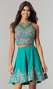 Image of lace-applique two-piece Dave & Johnny short prom dress. Style: DJ-A5476 Detail Image 3