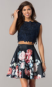 Image of short two-piece homecoming dress with lace top. Style: DJ-A5765 Front Image