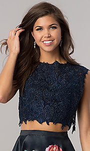 Image of short two-piece homecoming dress with lace top. Style: DJ-A5765 Detail Image 1