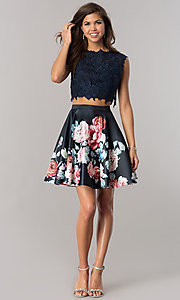 Image of short two-piece homecoming dress with lace top. Style: DJ-A5765 Detail Image 2