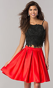 Black and Red Short Two-Piece Homecoming Dress