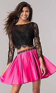 Two-Piece Short Long-Sleeve Homecoming Dress