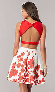 Image of Dave & Johnny two-piece homecoming dress with print. Style: DJ-A6043 Back Image