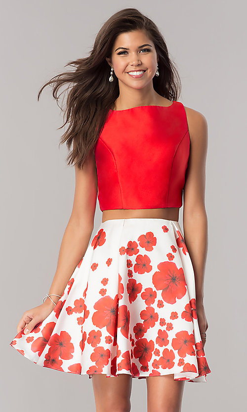 Image of Dave & Johnny two-piece homecoming dress with print. Style: DJ-A6043 Front Image