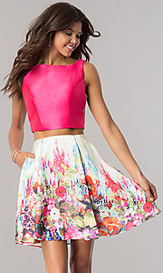 Floral Print Dave and Johnny Homecoming Dress