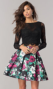 Long-Sleeve Floral-Print Homecoming Dress