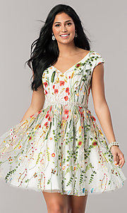 Embroidered V-Neck Homecoming Dress
