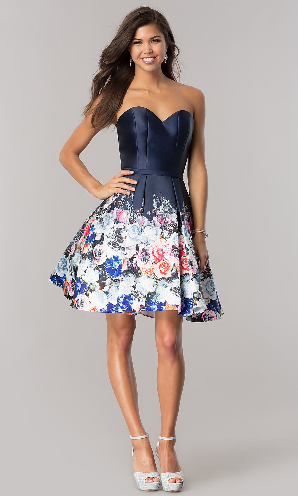 Strapless Floral Print Homecoming Dress