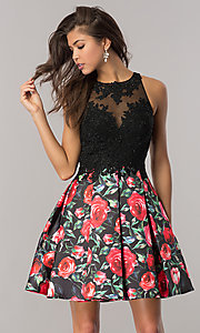 Open-Back Floral Print Homecoming Dress