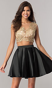 Gold and Black Two-Piece Homecoming Dress