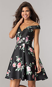 Short A-Line Off-the-Shoulder Homecoming Dress with Straps