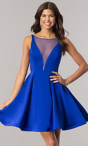 Image of Dave and Johnny royal blue short homecoming dress. Style: DJ-A5403 Front Image