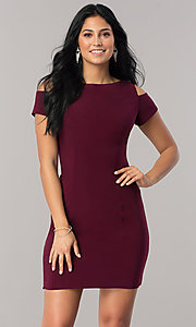 Burgundy Red Cold-Shoulder Homecoming Dress