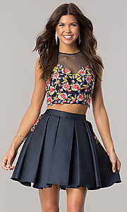 Navy Blue Two-Piece Homecoming Dress