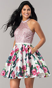 High-Neck Short Print Homecoming Dress