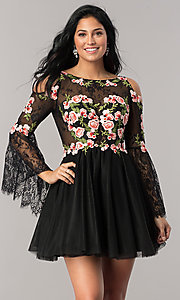 Embroidered Cold-Shoulder Homecoming Dress