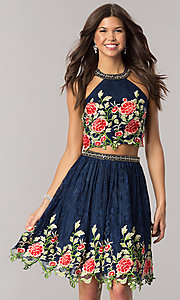 Navy Blue Embroidered Lace Dress