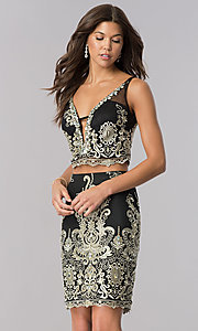 Two-Piece Black Homecoming Dress