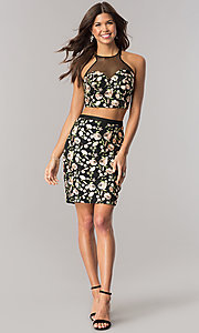 Image of black two-piece embroidered short homecoming dress. Style: DJ-A5521 Detail Image 1