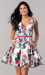 V-Neck Print Fit-and-Flare Homecoming Dress