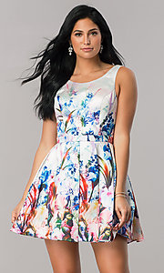 Short Floral Print Homecoming Dress