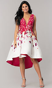 Print High-Low Homecoming Dress