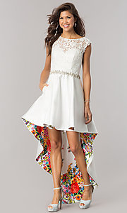 Ivory High-Low Homecoming Dress