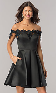 Off-the-Shoulder Black Homecoming Dress