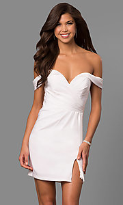 Image of short off-the-shoulder Faviana homecoming dress. Style: FA-8050 Detail Image 2