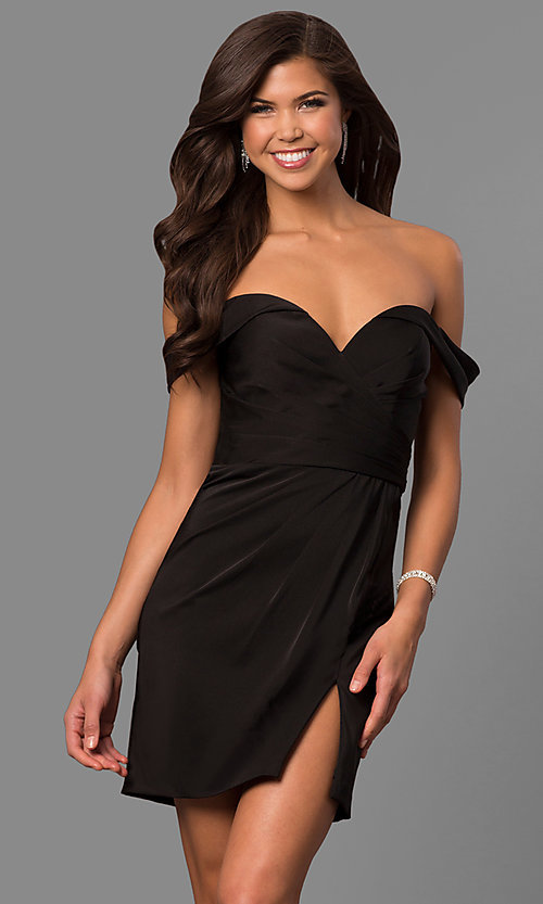 Image of short off-the-shoulder Faviana homecoming dress. Style: FA-8050 Detail Image 3