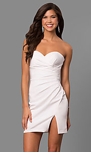 Image of strapless ruched jersey short prom dress by Faviana. Style: FA-8051 Detail Image 3
