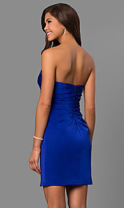Image of strapless ruched jersey short prom dress by Faviana. Style: FA-8051 Back Image