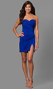 Image of strapless ruched jersey short prom dress by Faviana. Style: FA-8051 Detail Image 2