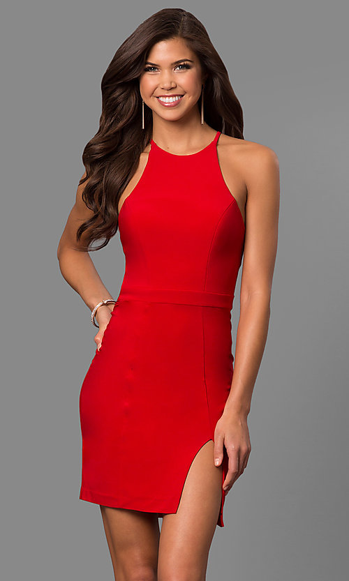 Image of short high-neck homecoming dress with side slit. Style: FA-8053 Detail Image 1