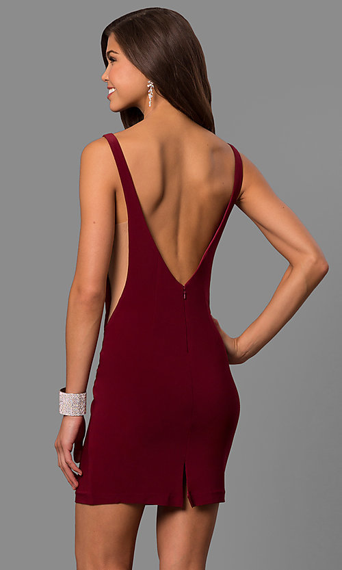 Image of short bateau-neck illusion-cut-out party dress. Style: FA-8055 Back Image