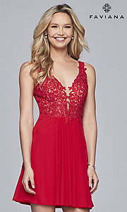 Image of short illusion-bodice homecoming dress by Faviana. Style: FA-8070 Detail Image 6