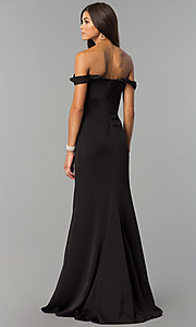 Image of long formal off-the-shoulder v-neck dress with slit. Style: FA-8083 Back Image