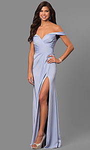 Image of long formal off-the-shoulder v-neck dress with slit. Style: FA-8083 Detail Image 2