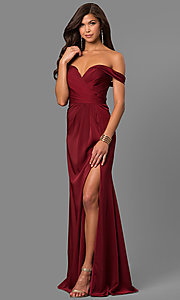 Image of long formal off-the-shoulder v-neck dress with slit. Style: FA-8083 Detail Image 1