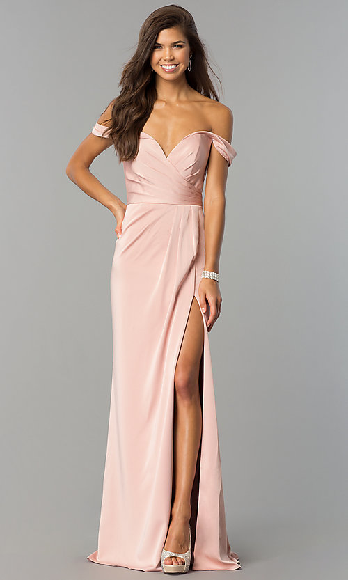 Image of long formal off-the-shoulder v-neck dress with slit. Style: FA-8083 Front Image